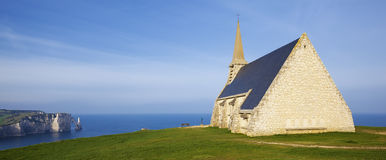 Panoramic view of Church Notre Dame de la Garde chapel and Etret Stock Photography