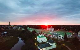 Panoramic view of churches in Suzdal, Russia at sunrise. Golden tour trip in Russia Stock Images