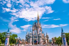 Panoramic view of Cinderella`s Castle on cloudy lightblue sky background  in Magic Kingdom at Walt Disney World Resort 2