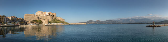 Panoramic view of Citadel and harbour entrance at Calvi Corsica stock photo
