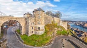Panoramic view on Citadel in Namur, Belgium stock photo