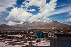 View of the city of Arequipa, Peru with the El Misti volcano in stock image