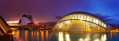 Panoramic view of City of Arts and Sciences   in Valecia, Spain. VALENCIA, SPAIN - AUGUST 26:  Panoramic view of City of Arts and Sciences on August 26, 2013 in Royalty Free Stock Photography