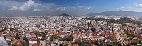 Panoramic view of the city of Athens, Greece Stock Photos