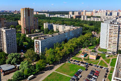 Panoramic view of the city Balashikha in Moscow region, Russia. Aerial view of the modern and old residential district in city Balashikha. Moscow region, Russia Stock Images