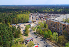 Panoramic view of city Balashikha. Russia. Aerial view of residential district near the big forest. City Balashikha. Moscow region, Russia Royalty Free Stock Photos