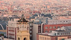 Panoramic view city buildings. Roof house in modern European city. Panoramic view city buildings. Landscape city architecture. Urban architecture modern town stock footage