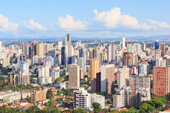 Panoramic view of city center, buildings, hotels, Curitiba, Para Royalty Free Stock Photos