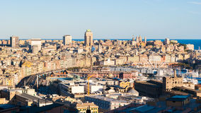 Panoramic view of the city center of Genoa during the golden hour Royalty Free Stock Images