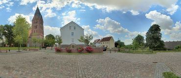 Panoramic view of city center in Guetzkow, Mecklenburg-Vorpommern, Germany royalty free stock image