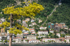 Panoramic view of the city of Como over the Lake Como,  Italy. Royalty Free Stock Photography