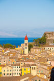 Panoramic view the city of Corfu and the bell tower of the Saint Spyridon Church from the New Fortress. Greece. Stock Image