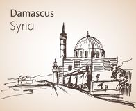 Panoramic view of city Damaskus, Sinan Pasha Mosque, Syria. Sketch. Isolated on white background royalty free illustration