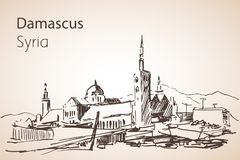 Panoramic view of city Damaskus, Syria. Sketch. Isolated on white background stock illustration