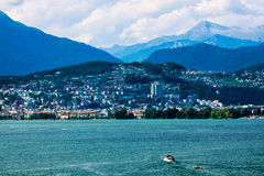 Panoramic view of the city in Dawn Royalty Free Stock Image