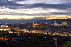 Panoramic view of the city of Florence at night Stock Photo