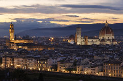 Panoramic view of the city of Florence at night Royalty Free Stock Photo