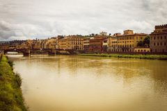 Panoramic view of the city of Florence. Storm clouds cover the sky. stock photos