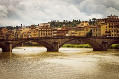 Panoramic view of the city of Florence. Storm clouds cover the sky. stock image