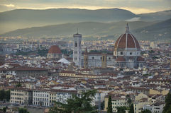 Panoramic view of the city of Florence at sunset Royalty Free Stock Images