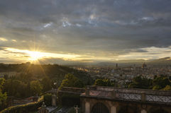 Panoramic view of the city of Florence at sunset Stock Images