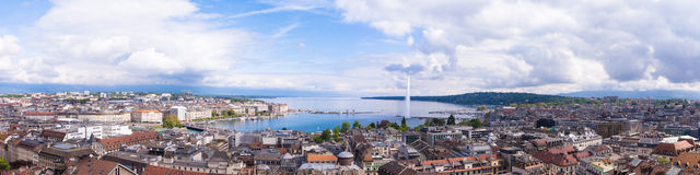 Panoramic view of city of Geneva, the Leman Lake and the Water Stock Photo