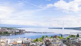 Panoramic view of city of Geneva, the Leman Lake and the Water stock video footage