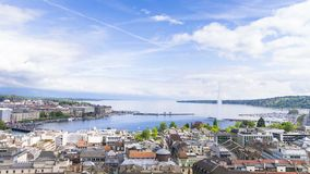 Panoramic view of city of Geneva, the Leman Lake and the Water Royalty Free Stock Image