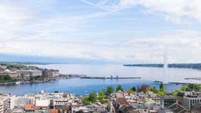 Panoramic view of city of Geneva, the Leman Lake and the Water Stock Image
