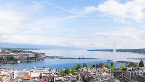 Panoramic view of city of Geneva, the Leman Lake and the Water stock video