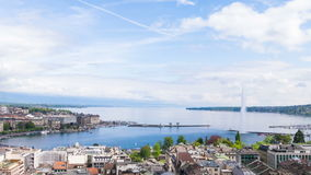 Panoramic view of city of Geneva, the Leman Lake and the Water Royalty Free Stock Images