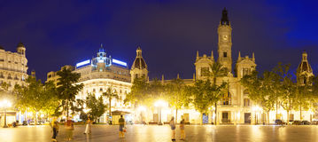 Panoramic view of city hall at Placa del Ajuntament. Valencia Stock Photo