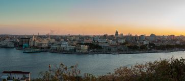 Panoramic view of the city of Havana and the bay from the Christ park of Havana at sunset stock photos