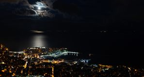 Panoramic view of the city. Heavy clouds cape over city of Kavala, Greece royalty free stock photo