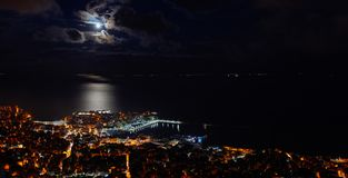 Panoramic view of the city. Heavy clouds cape over city of Kavala, Greece stock photos