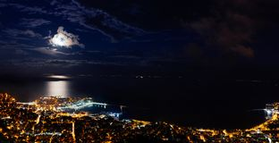 Panoramic view of the city. Heavy clouds cape over city of Kavala, Greece stock photography