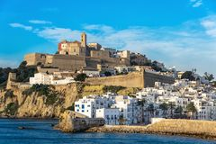 Panoramic view of the city of Ibiza royalty free stock photos