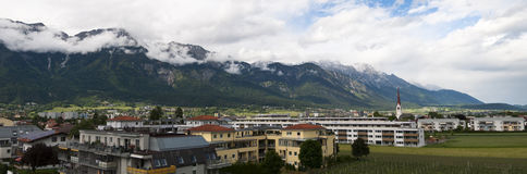 Panoramic view of the city of Innsbruck and the Al Stock Image