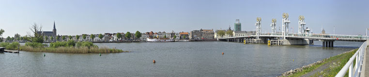 Panoramic view of the city Kampen, the Netherlands. Panoramic view of the city of Kampen, an ancient Hanse town in the Netherlands, near the IJssel bridge and Stock Photography