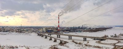 Panoramic view of the city of Kemerovo Stock Photos