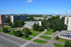 Panoramic view of the city of Komsomolsk-on-Amur, Russia Royalty Free Stock Photos