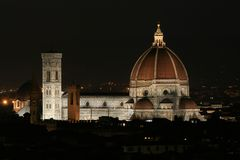 Panoramic view of the city.  La Cattedrale di Santa Maria del Fiore. Summer. Night. Italy. Florence. Panoramic view of the city.  La Cattedrale di Santa Maria Stock Image