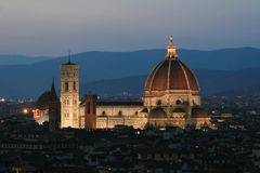 Panoramic view of the city.  La Cattedrale di Santa Maria del Fiore. Summer. Night. Italy. Florence. Panoramic view of the city.  La Cattedrale di Santa Maria Royalty Free Stock Photography