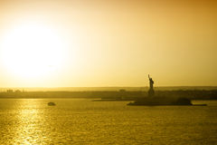 Panoramic view of city and Liberty Statue Royalty Free Stock Image
