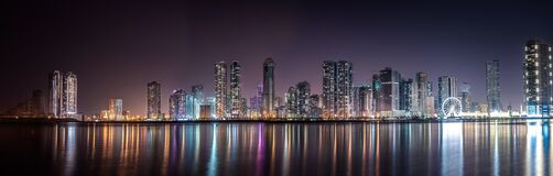 Panoramic View of City Lit Up at Night stock images