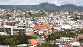 Panoramic view of the city of Loja in Ecuador with mountains on the horizon. On a cloudy afternoon stock video footage