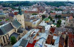Panoramic view of the city Lviv, Ukraine Stock Image