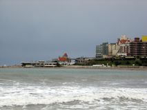Panoramic view of the city of Mar del Plata Bristol Beach Casino Buildings Buenas Aires Argentina Royalty Free Stock Photography