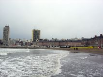 Panoramic view of the city of Mar del Plata Bristol Beach Casino Buildings Buenas Aires Argentina Royalty Free Stock Image