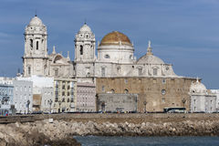 Panoramic view of the city on March, bordered by the Mediterrane. An sea and its Cathedral, called Catedral Nueva by locals, in the background, take in Cadiz Royalty Free Stock Images